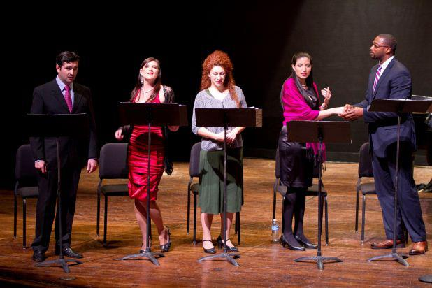 """The cast of """"Game of Hearts"""" onstage during the reading."""